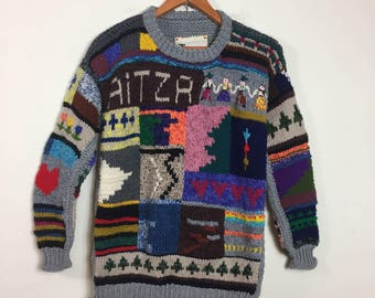 90's VTG Women's Sweater Size M - Multicolored Scenic Handmade Wool Chunky Knit