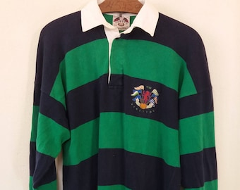 c01126f252b Rare Vintage 70s 80s RUGBY BENETTON Italy Stripes Polo Cross Flag  Embroidery Crest Small fit Medium