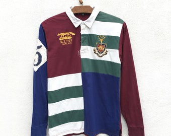 217addc0 Vintage Polo Ralph Lauren Rugby Stripe Colour Block Embroidery Tshirt