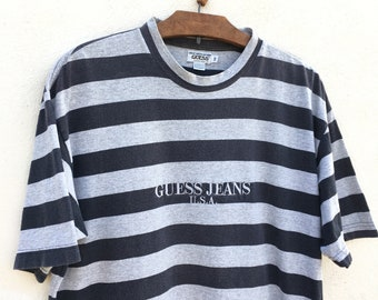 Guess Jeans Gray White Striped Long Sleeve Oversized Thermal Shirt Small 90s Style