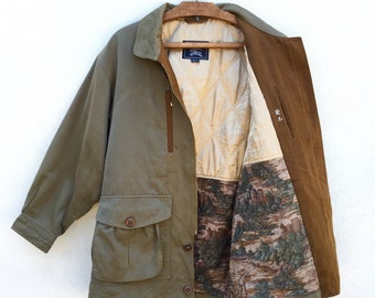 ffc752d6ba20 Burberrys Rare Vintage Hunting Jacket Outdoor Fishing Olive Green Sportsman  Quilted Satin Lining Unisex Medium