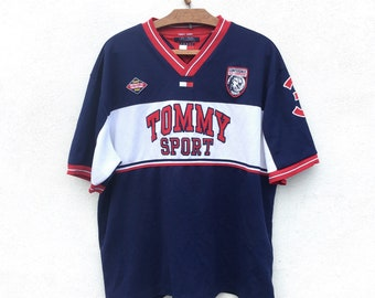 21be1ce56 Vintage 90s Tommy Hilfiger Spell Out Big Logo Embroidery Logo Jersey Hiphop  Hype XXlarge