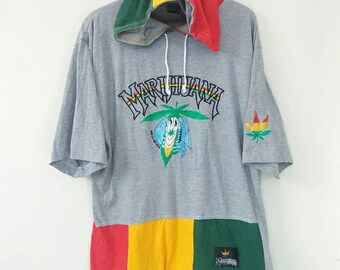 0ff7f4165c7 Vintage 90s Marihuana Surf Design Rasta Embroided Logo Spell Out Hoodie  Tshirt Marijuana Weed Reggea Large