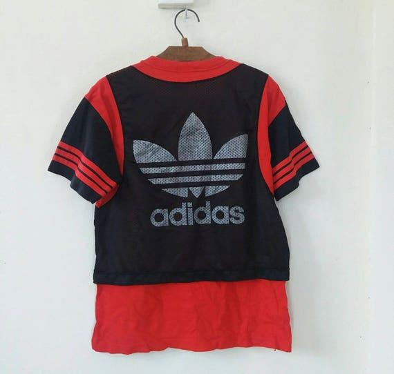 Vintage Adidas Trefoil Big Logo 90s Run Dmc Mesh Hip Hop Tshirt Swag Medium Size