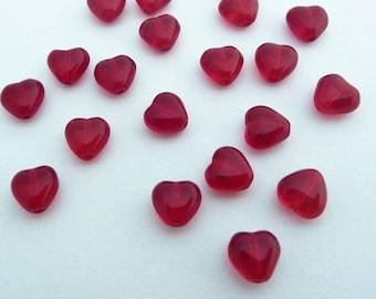 6mm Czech Glass Hearts - Red x 20