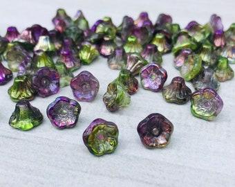 Czech Glass Flower Beads - Crystal Magic Orchid x 20
