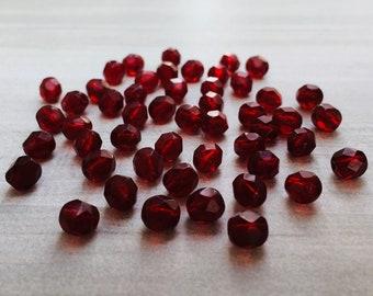 6mm Garnet Red | Fire Polished Czech Glass Beads | 50 Pcs