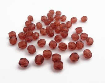 4mm Fire Polished Beads Cranberry x 50