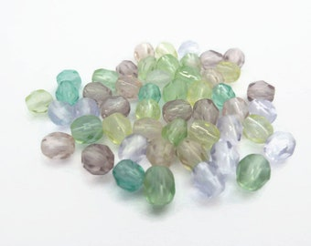 Soft Pastel Sorbet Mix of 4mm Fire Polished Beads x 50