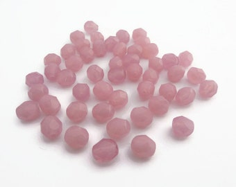6mm Fire Polished Beads Milky Pink x 50