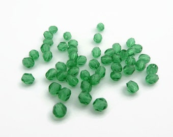 4mm Fire Polished Beads Soft Emerald Green x 50
