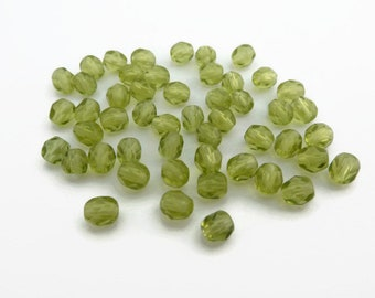 4mm Fire Polished Beads Lime Green x 50