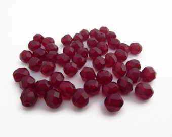 6mm Fire Polished Beads Garnet Red x 50