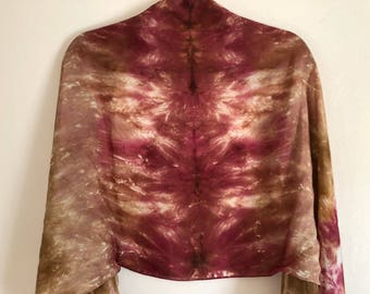 Large, cranberry and olive, hand dyed, 100% silk scarf/shawl.