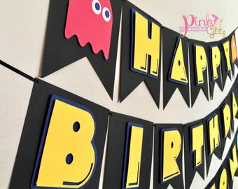 Pac Man Party Birthday Banner Favors Arcade Decor Centerpiece