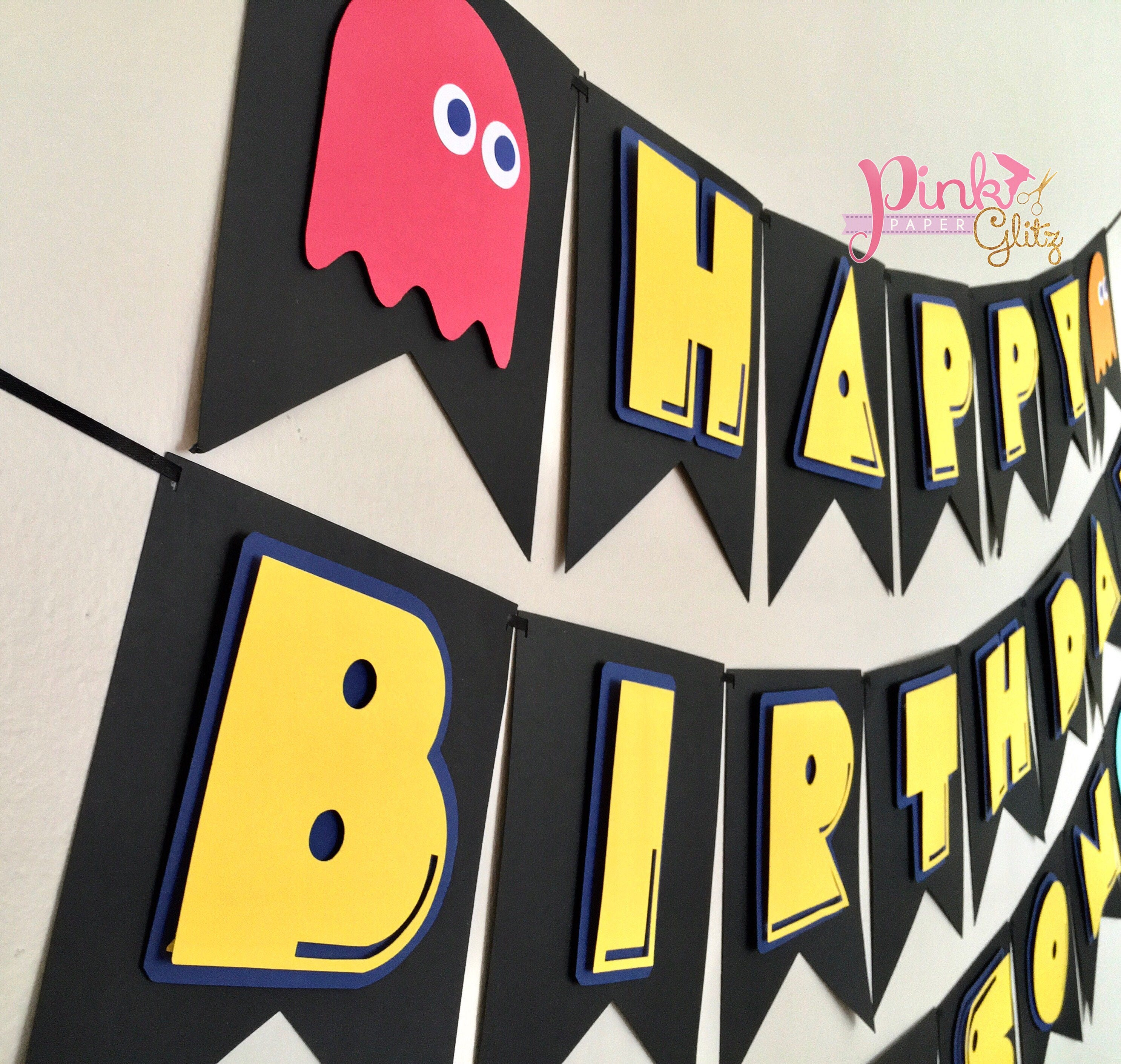 Pac Man Party Birthday Banner
