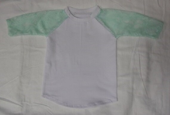 Mint Lace Sleeve Raglan Baseball Shirt Raglan Top Raglan Shirt Etsy