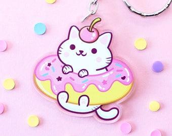 Donut Cat Keychain Acrylic - Yum Yum Cats Kawaii