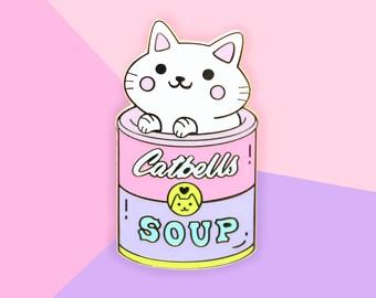 Catbells Soup Foodie Cat - Hard Enamel Gold Lapel Pin Kawaii Cats