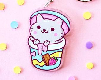 Ice Cream Cat Keychain Acrylic - Yum Yum Cats Kawaii