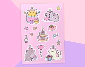 Birthday Cats Sticker Sheet A6 - Vinyl Kawaii Cat Stickers