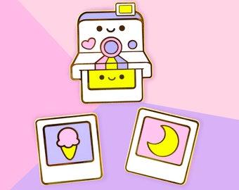 Kawaii Polaroid Camera - Set of 3 Pins - Hard Enamel Gold Lapel Pins