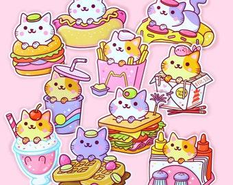 Sticker Set Series 3 (10Pcs) - Kawaii Yum Yum Cats Vinyl Stickers