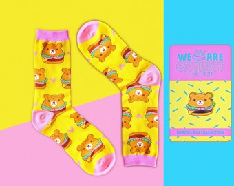 Socks + Enamel Pin SET - Unisex Hambearger Knitted Crew Socks + Matching Hard Gold Enamel Pin
