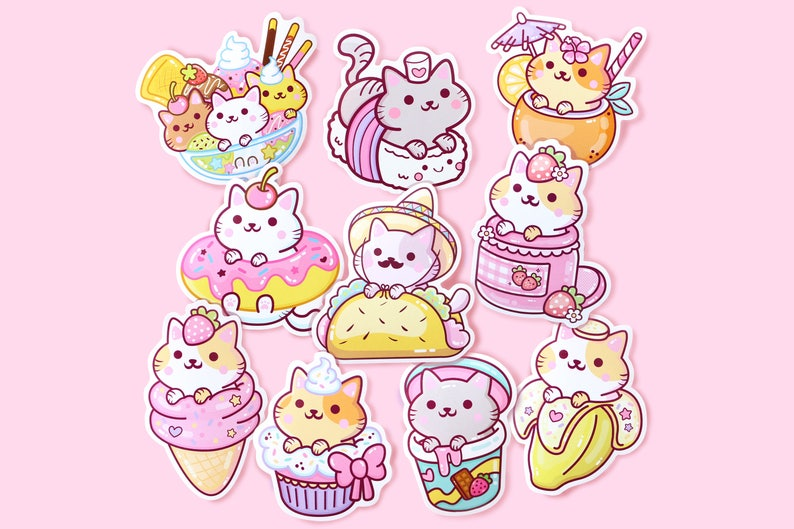 Sticker Set Series 1 10pcs  Kawaii Yum Yum Cats Vinyl image 0