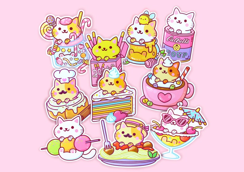 Sticker Set Series 4  Kawaii Yum Yum Cats Vinyl Stickers image 0