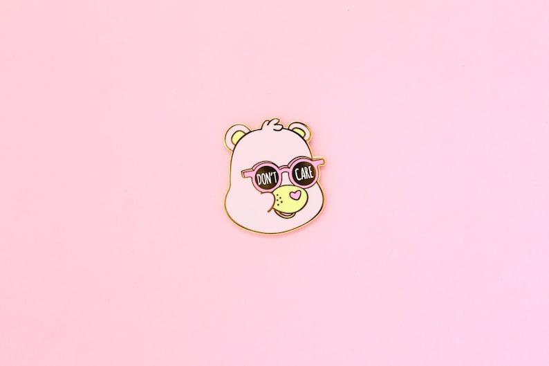 Don't Care Bear  Hard Enamel Gold Lapel Pin image 0
