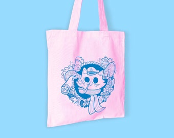 Eco Cotton Screen Printed Tote Bag - Sailor Cat - Pastel Pink
