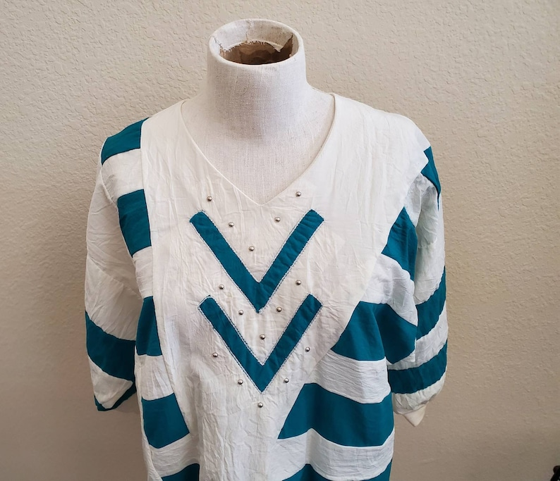 Vintage 80s Geometric Striped Batwing Top Studded Horizontal Striped Parachute Top Womens Abstract Art Blouse