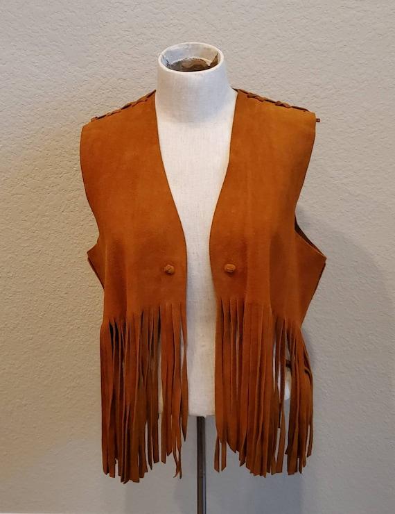 Vintage 70s Suede Fringe Vest Hippie Boho Festival Fashion Blouse Jacket 1970s Tan Leather Large L