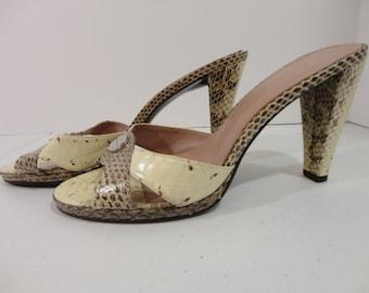 800228d2be4 Womens Vintage Calvin Klein Open Toe Heels Mules Snakeskin Size 7 M