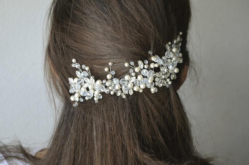 Wedding pearl bridal hair piece vine Bridal crystal wedding head piece Crystal modern bridal hair comb adornment Rhinestone haircomb