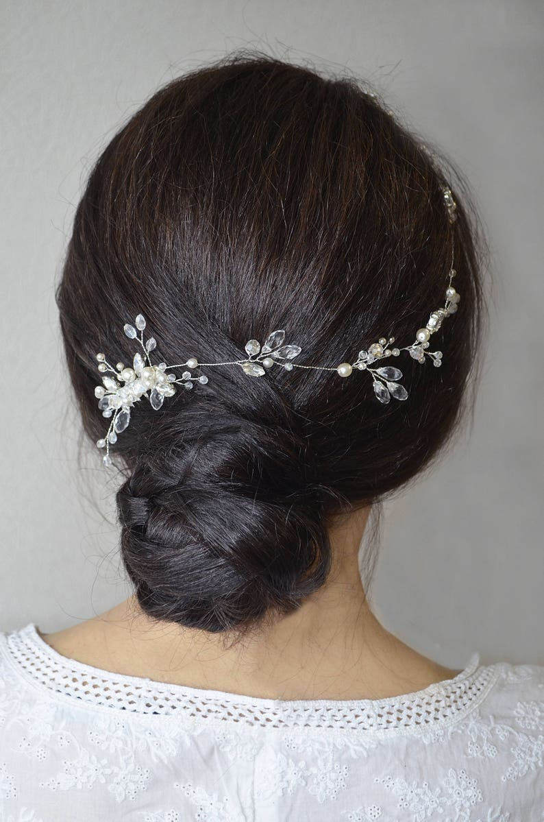 Wedding Crystal Side Bridal Hair Vine Crystal Wedding Back Bridal Hair Piece Wedding Boho Bridal Headpiece Hair Jewelry Bridal Hair Comb