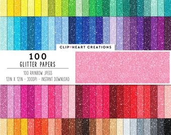 100 Glitter Digital Paper, Commercial Use JPEG Glittered Paper, Rainbow Glitter Planner Scrapbooking Digital Papers, Sparkle Papers