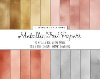 Metallic Foil Digital Papers, Commercial Use Instant Download Foil Digital Paper, Rose Gold Digital Paper, Silver Digital Paper