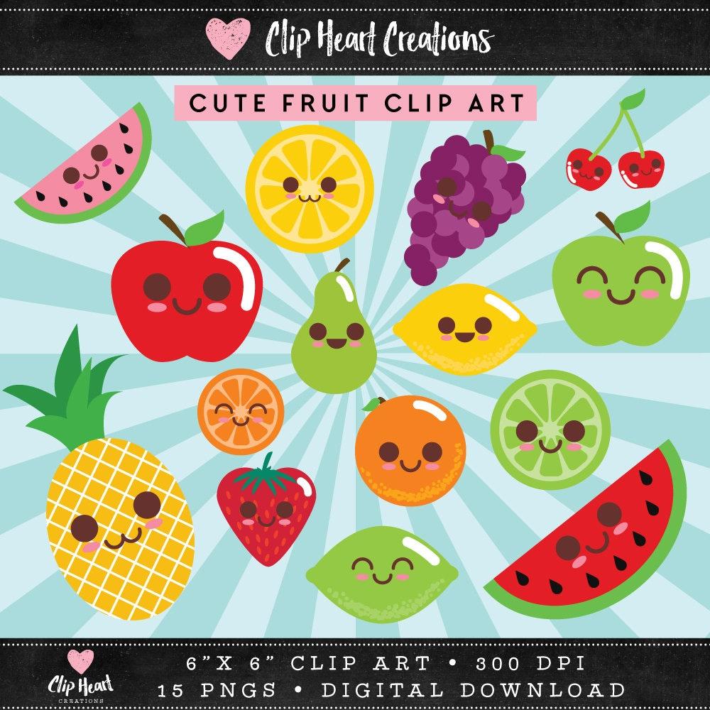 Cute fruit clip art Commercial use PNG Digital clip art | Etsy