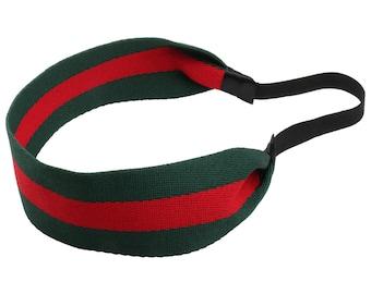 Handmade Headband Rubber Back, Headband for Women, Head Wear, Green and Red Rubber back