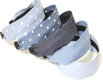 Denim fabric headbands, wide headbands, headbands for women, comfortable headbands