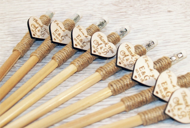 personalized pencil Party Engraved pencil Rustic wedding favors Wedding pencil Wedding favors Custom pencil Wood favors Wood pencil