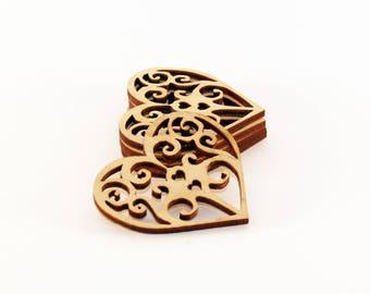 5 Unique Wood heart, Wedding favors,  Heart shape, Wooden heart shape, Wood tags, Heart tags, Wedding hearts, Wood heart tags, Heart rustic