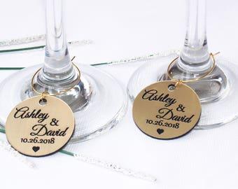 Wedding gold wine charms, Anniversary wine charms, Wine glass charms, Wedding charms, Custom wine charm, Wedding favor, Wedding charms, Gold
