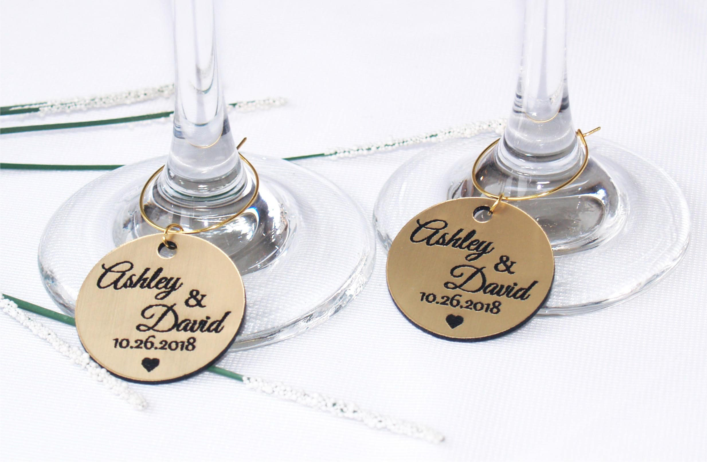 Wedding Gold Wine Charms Anniversary Wine Charms Wine Glass Charms