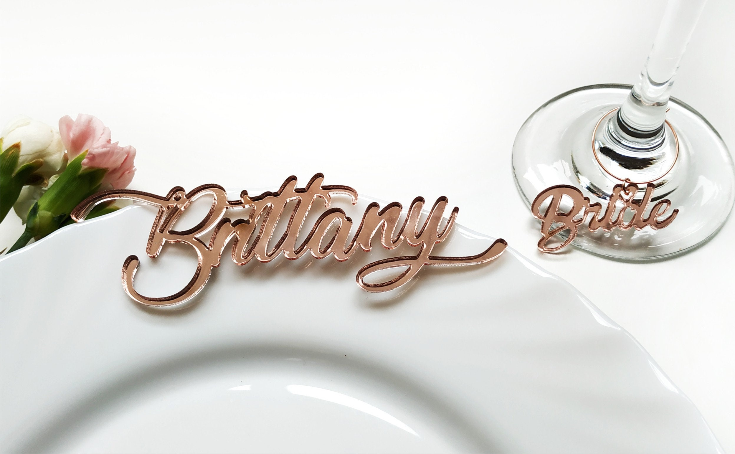 rose gold mirror table name with wine charm wedding table place