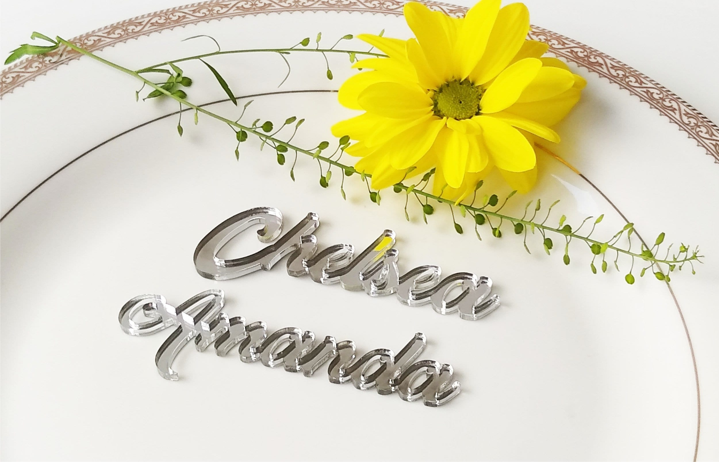silver mirror table names wedding table place guest names place