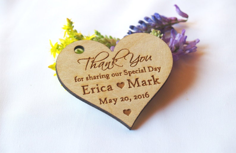 Thank you wedding tags Thank you wood tags Wedding favor image 0