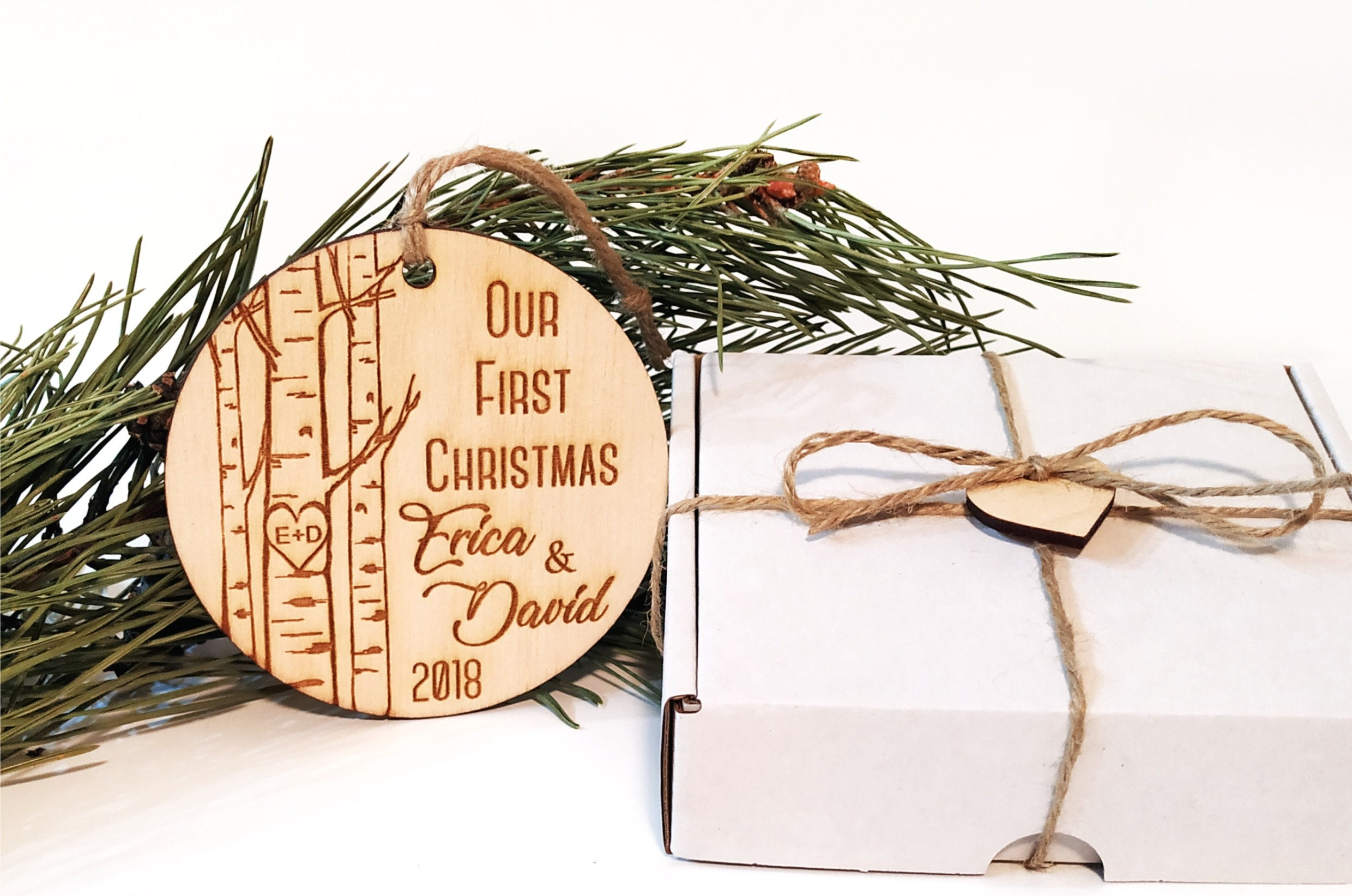 Personalized Our first Christmas ornament, Our first Christmas, Just ...
